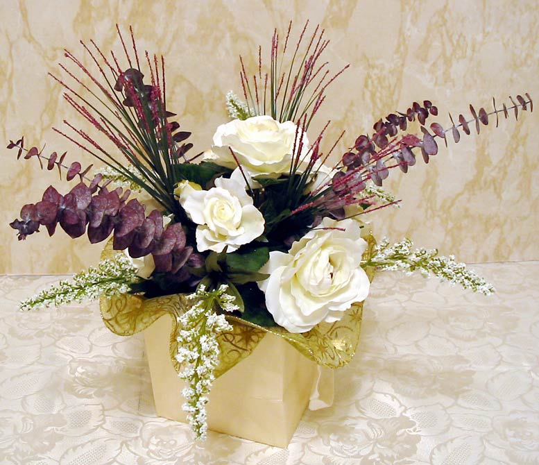 Dining table silk flower arrangements