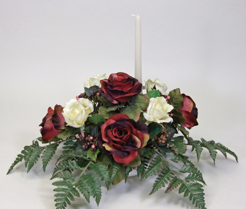 Lovely Silk Horizontal Banquet Table Centerpiece