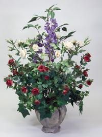 Silk rose and ivy container arrangement