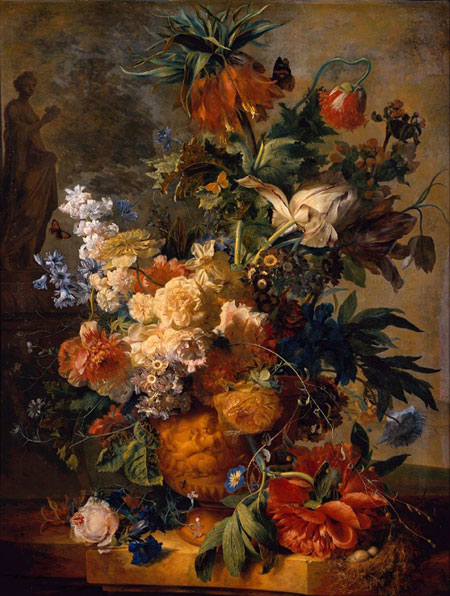 Jan Van Huysum, color still life painting circa 1730