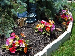 Multicolor silk floral bushes outdoors