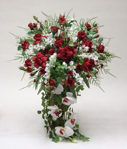 Silk flower cascade wedding bouquet