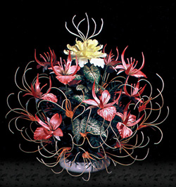 Tropical silk flower centerpiece